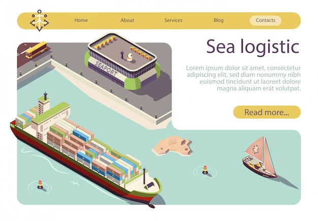 Bannière isométrique de logistique et de transport en mer