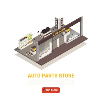 Bannière isométrique de magasin de pièces automobiles de voiture