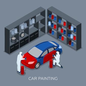 Bannière isométrique de peinture automatique de voiture