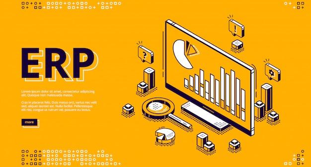 Bannière isométrique de planification des ressources d'entreprise erp