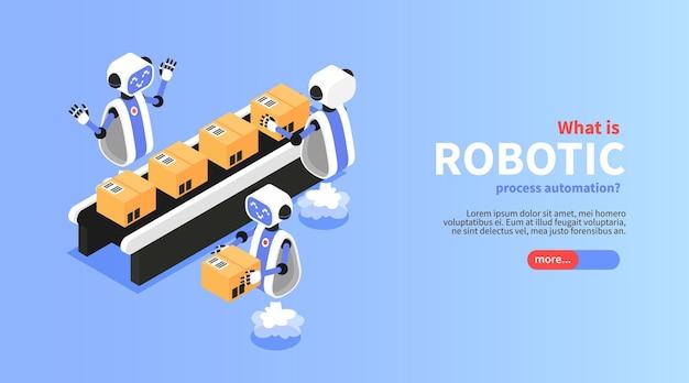 Bannière isométrique de processus robotique avec illustration de symboles de convoyeur industriel