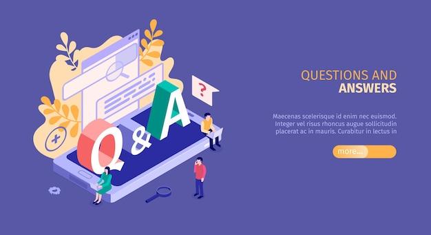 Bannière isométrique de questions et réponses