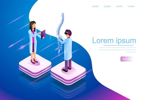 Bannière isométrique réalité virtuelle en médecine 3d