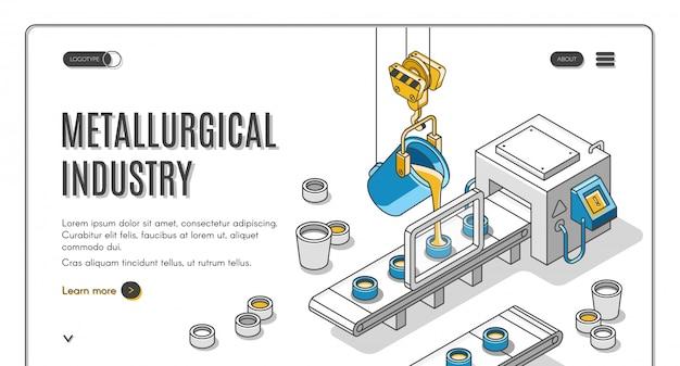 Bannière isométrique de société de l'industrie métallurgique