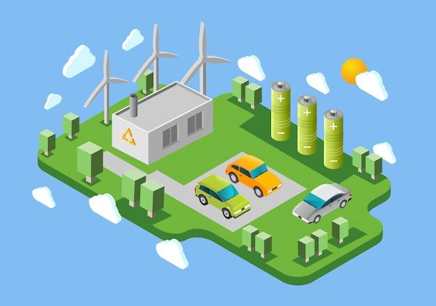 Bannière isométrique de la station de recharge de voitures électriques