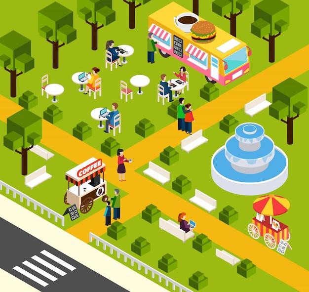 Bannière isométrique street fast food truck