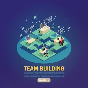 Bannière isométrique de team building virtuel en ligne