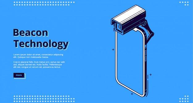 Bannière isométrique de technologie de balise avec smartphone