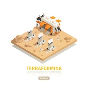 Bannière isométrique de terraformation de colonisation spatiale avec véhicule volant et centrales électriques