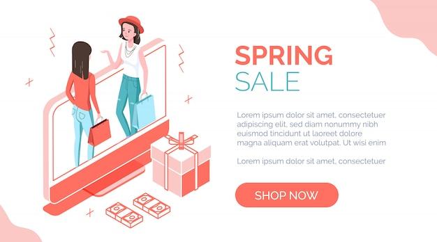 Bannière isométrique de vente de printemps avec des personnes