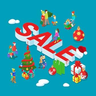 Bannière isométrique de vente de vacances de noël et du nouvel an