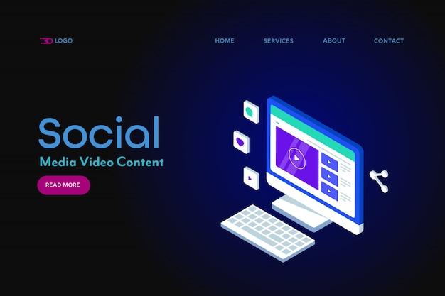 Bannière isométrique vidéo de médias sociaux