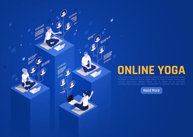 Bannière isométrique de yoga virtuel en ligne