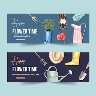 Bannière de jardin fleuri avec outils de jardinage, bottes, illustration aquarelle pavot.