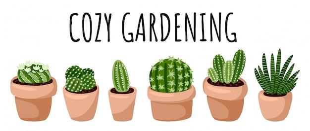 Bannière de jardinage confortable