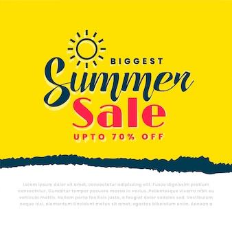 Bannière jaune élégante vente d'été