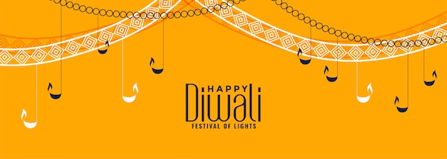 Bannière jaune de festival de diwali avec lampes diya suspendues