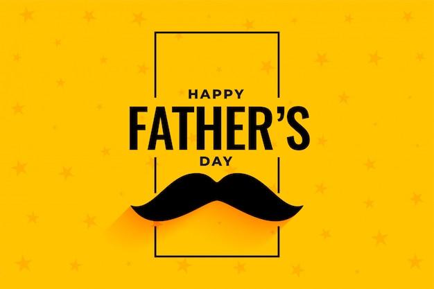 Bannière jaune de fête des pères heureux style plat