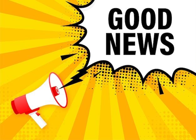 Bannière jaune de mégaphone de bonnes nouvelles dans le style 3d. haut-parleur. illustration.
