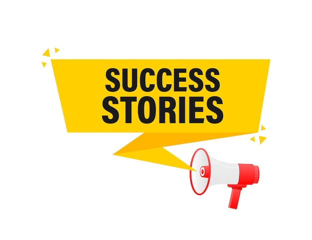 Bannière jaune mégaphone d'histoires de réussite dans l'illustration de style 3d.