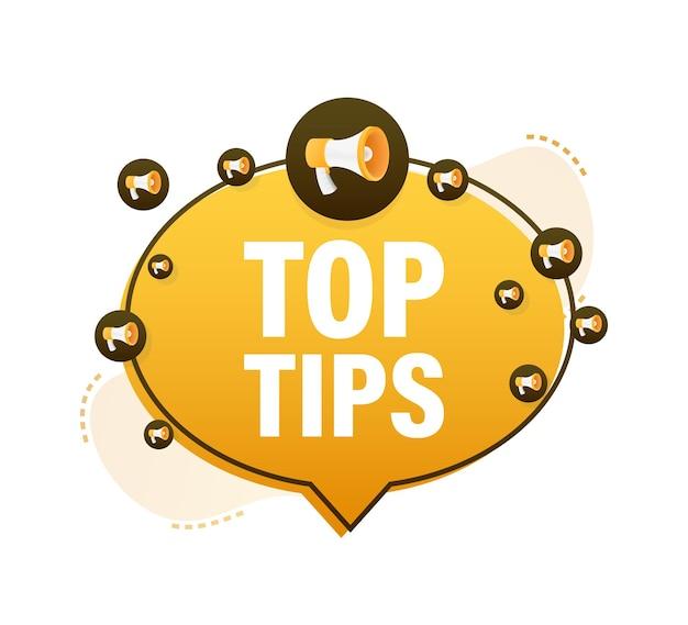 Bannière jaune mégaphone - les meilleurs conseils. illustration vectorielle.