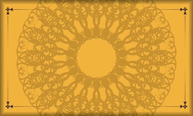 Bannière jaune avec ornement marron vintage pour la conception sous votre texte