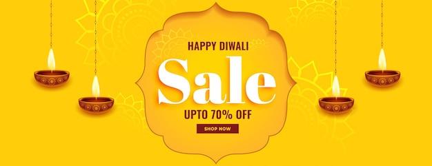 Bannière jaune pour la vente du festival de diwali