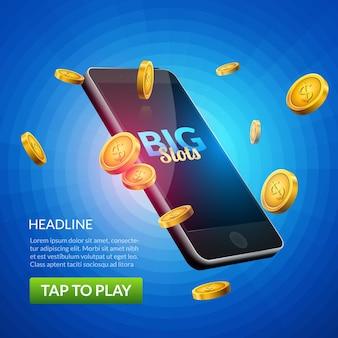 Bannière de jeu de machine à sous de casino mobile