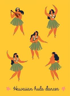 Bannière de jolie jeune femme danseurs de hula hawaïenne