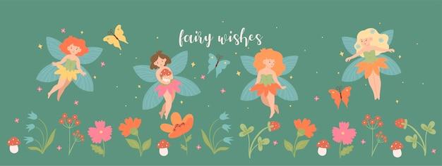 Bannière avec de jolies fées et fleurs.