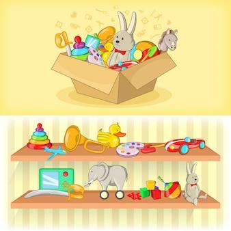 Bannière de jouets bébé horizontale dans un style bande dessinée