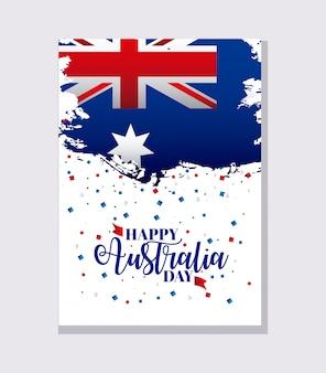 Bannière de jour australie heureux sur gris, drapeau et confettis