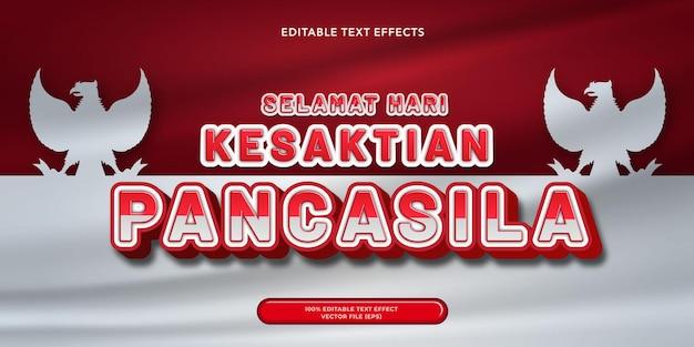 Bannière de jour pancasila texte 3d avec fond rouge et blanc