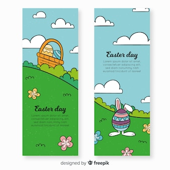 Bannière de jour de pâques dessinés à la main