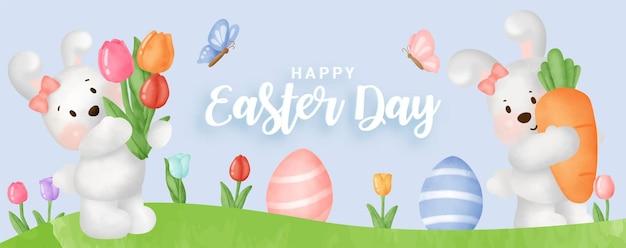 Bannière de jour de pâques avec des lapins mignons et des oeufs de pâques.