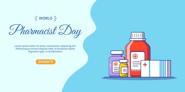 Bannière de jour de pharmacien avec beaucoup d'illustration de dessin animé plat de bouteille de médicament.