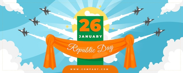 Bannière de jour plat république