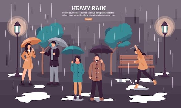 Bannière de jour de pluie nuageux
