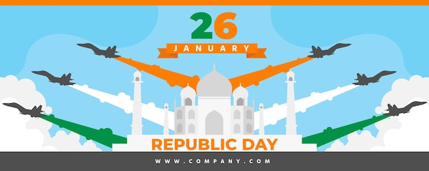 Bannière de jour de la république design plat