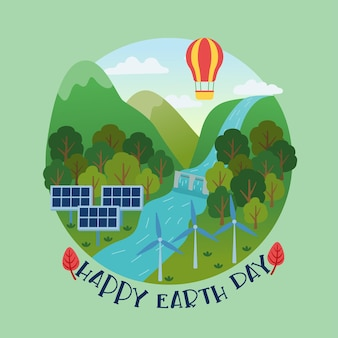 Bannière de jour de la terre heureuse de ville écologique et d'énergie renouvelable