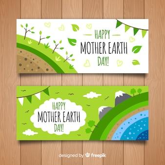 Bannière de jour terre mère couches dessinés à la main