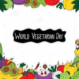 Bannière de jour végétarien heureux dessiné à la main. jour végétarien de griffonnage. concept d'aliments santé. illustration vectorielle