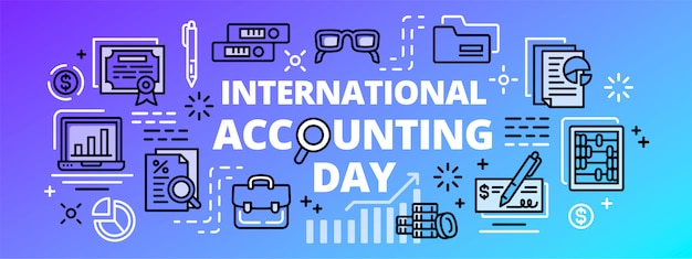 Bannière de la journée comptable internationale, style de contour
