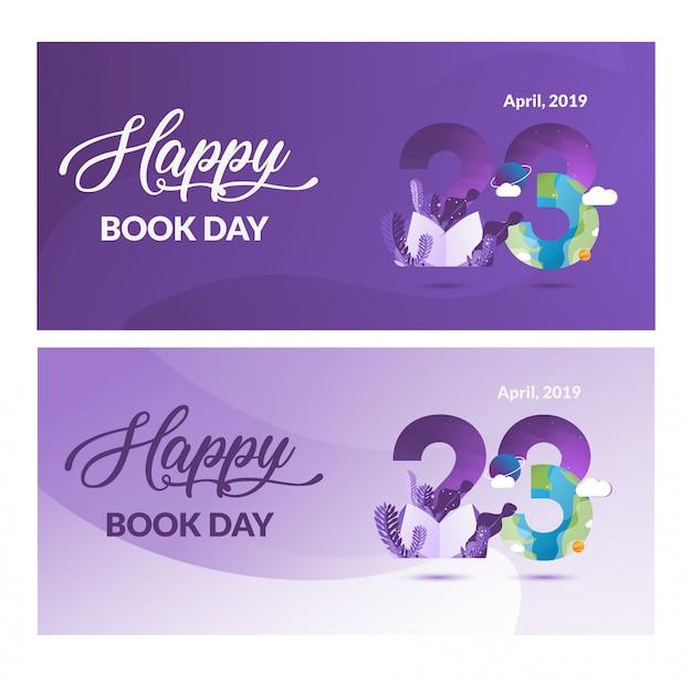 Bannière de la journée du livre mondial illustration moderne