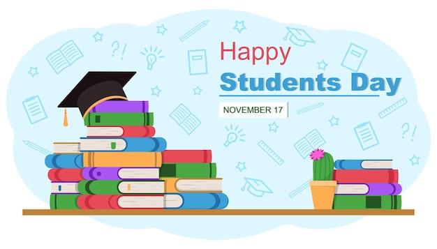 Bannière de la journée des étudiants heureux pile de livres et casquette académique carrée illustration vectorielle