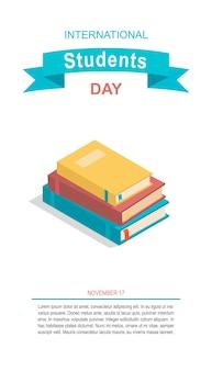Bannière de la journée des étudiants heureux pile de livres isolés vector illustration symboles de connaissances académiques