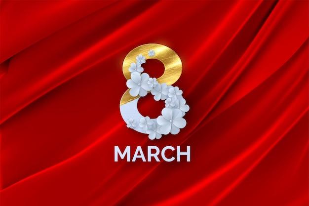 Bannière de la journée de la femme du 8 mars avec des fleurs en papier