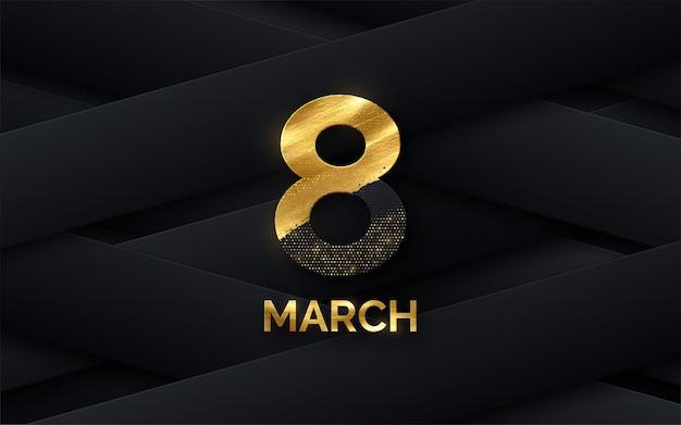 Bannière de la journée de la femme du 8 mars avec des formes de papier noir