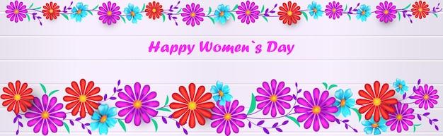 Bannière de la journée de la femme heureuse avec des fleurs