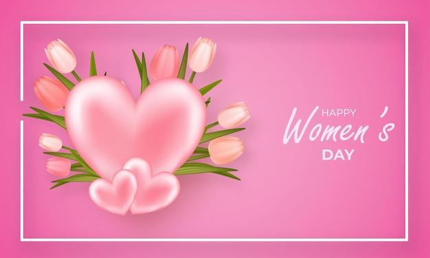 Bannière de la journée des femmes beau fond avec des tulipes et des coeurs